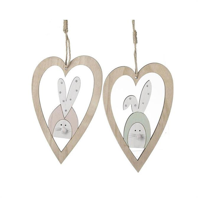 Wooden Bunnies In Hearts Hanging Decoration